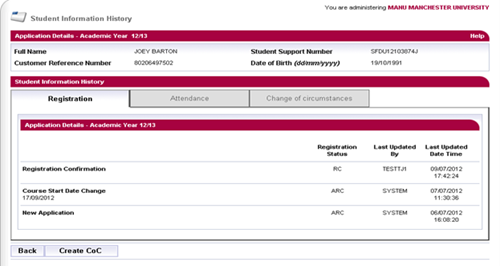 A screenshot of the detailed student information history page in SIS