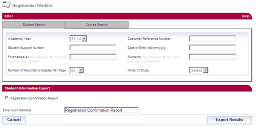 A screenshot of the student information export page in SIS.