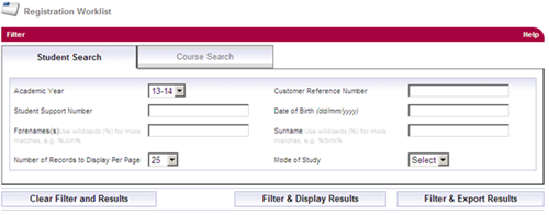 A screenshot of the registration worklist results page in SIS with the filter and export results button.