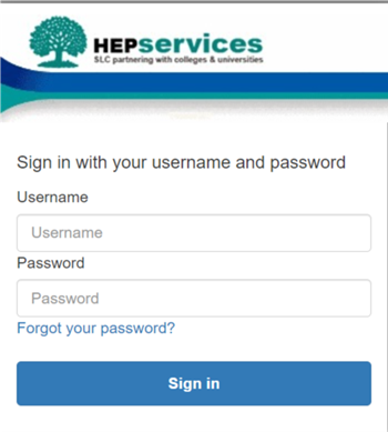 Figure 1: Screen capture of the sign-in page for the HE Gateway