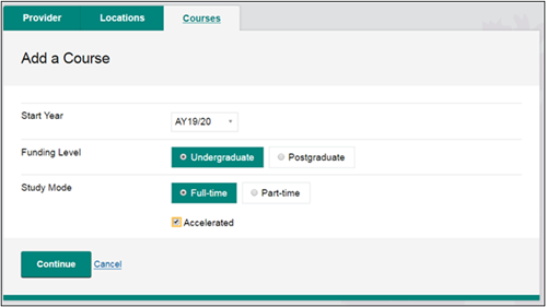 This image shows the Add a Course screen with the Accelerated checkbox selected.