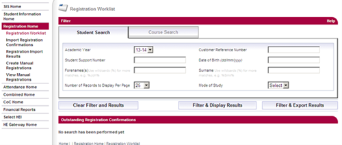 A screenshot of the registration worklist student search page in SIS.