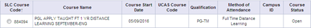 A cropped screenshot of the course details table in SIS.